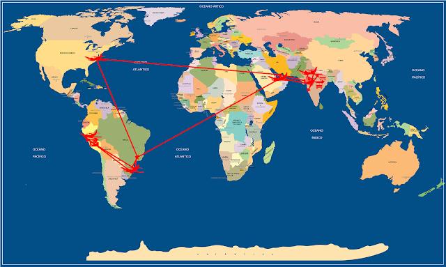 Mapa Mundi com trajeto Viagens e Beleza em 2016