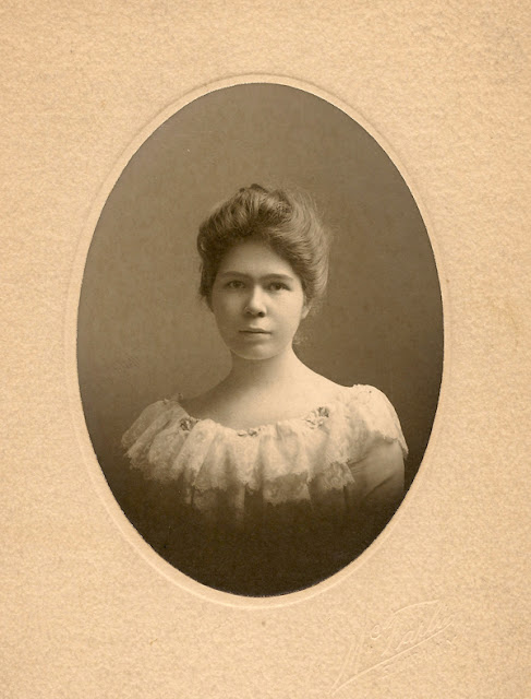 Lena E. MacKenzie. 1903. The photographer is McFarlin in Elmira, NY.