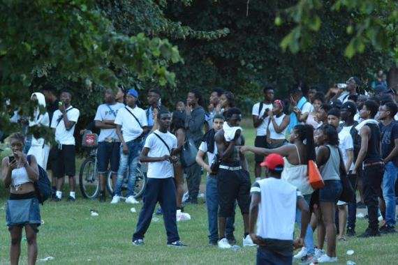 Policemen & two others stabbed during Hyde Park water fight as youths chant 'Black Lives Matter'