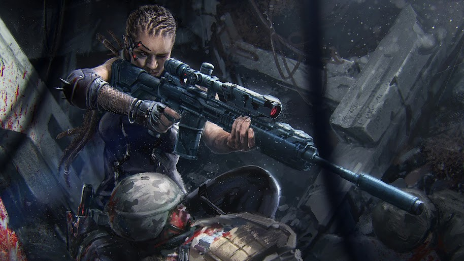 Soldier Girl Sniper Rifle Sci Fi Art 4k Wallpaper 87