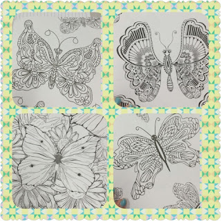 Stress Less Coloring Butterfly Gardens collage 1