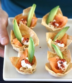 Salmon Sashimi Wonton Cups recipe