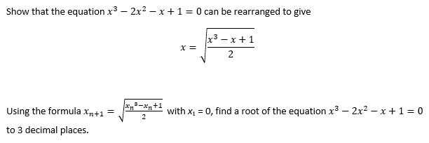 Rearranging the equation f(x)=0 into the form x=g(x)?