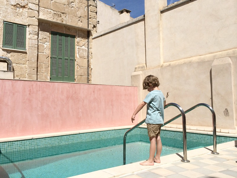 Beautiful blush colours on the roof terrace and plunge pool