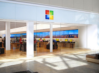 The microsoft retail store in a bright and sunny mall