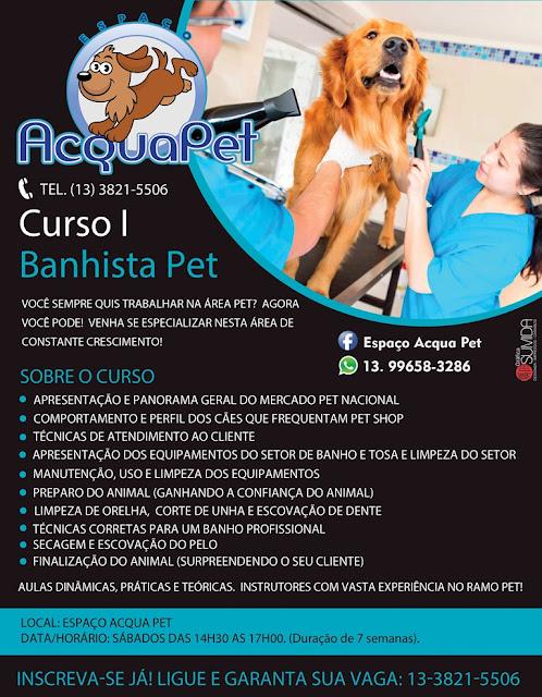 """""""Curso de Banhista Pet"""" no Espaço Acqua Pet em Registro-SP"""
