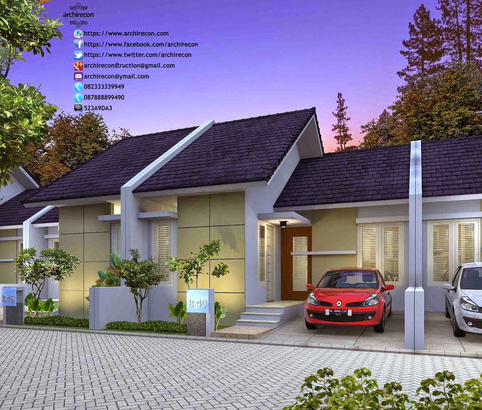 Hasil Jasa Desain Rumah Minimalis - Perumahan Green Land Villa - View Type 45