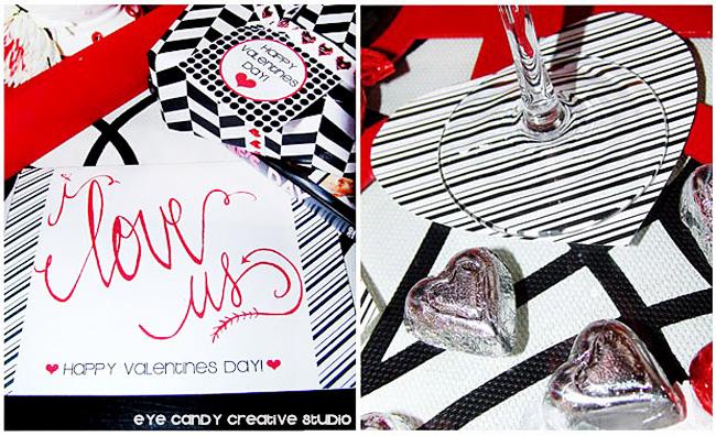 hand lettered valentine, black & white valentines, I love us, free valentines