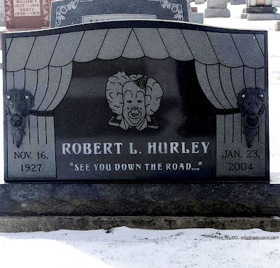 "Clown headstone of Mr. Robert L. Hurley with the epitaph, ""See you down the road..."" Photo by Tree Pruitt"