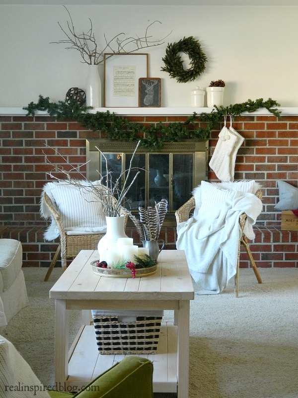 Home Goals 2016:Christmas decorated living room with greenery and neutrals.