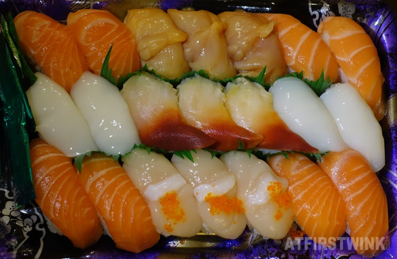 Sushi from AEON supermarket Whampoa discounted 21 pieces nigiri