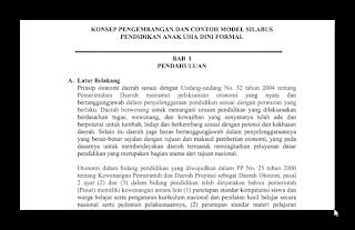 Download Contoh Model Silabus  PAUD,TK,RA Terbaru 2016