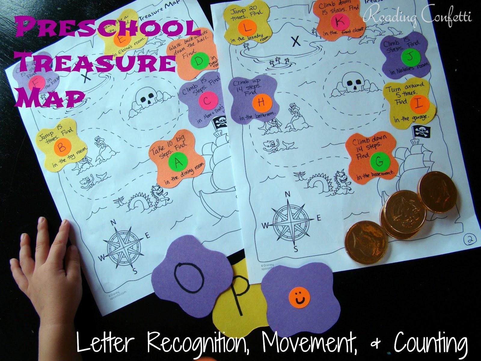 Preschool Treasure Maps Reading Confetti