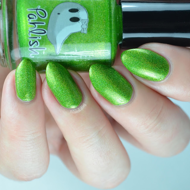metallic green nail polish