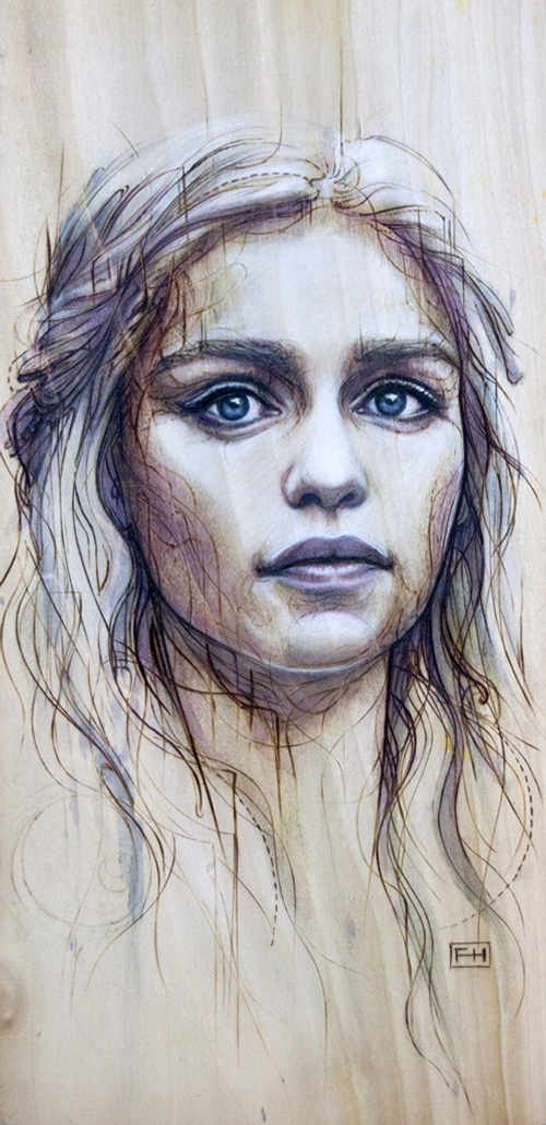 01-Daenerys-Targaryen-Emilia-Clarke-Fay-Helfer-Pyrography-Game-of-Thrones-and-other-Paintings-www-designstack-co
