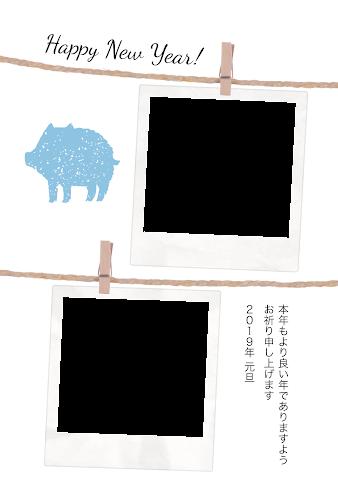 二枚のポラロイドの写真フレームと猪のガーリー年賀状(亥年・写真フレーム)