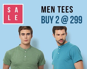 Men's T-Shirts- Buy any 2 T-shirts just for Rs.299 Only @ Yepme