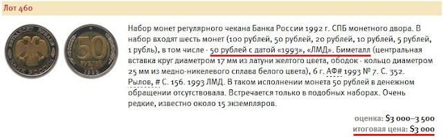 Стоимость биметаллических 50 рублей 1993 года