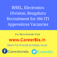 BHEL, Electronics Division, Bengaluru Recruitment for 386 ITI Apprentices Vacancies