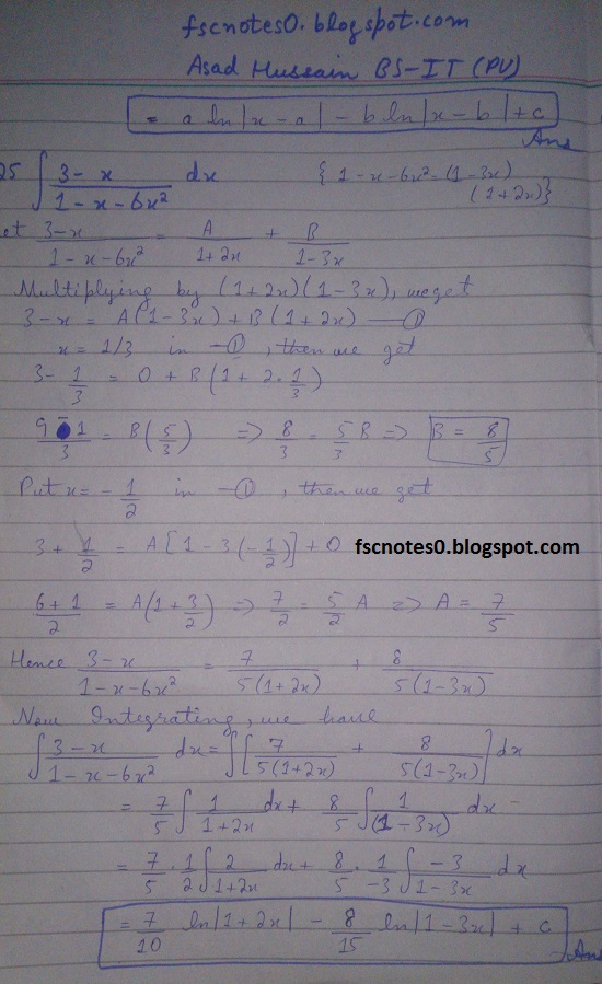 FSc ICS Notes Math Part 2 Chapter 3 Integration Exercise 3.5 question 1 - 11 by Asad Hussain 3
