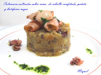 Calamares salteados sobre cama de cebolla confitada, patata y butifarra negra