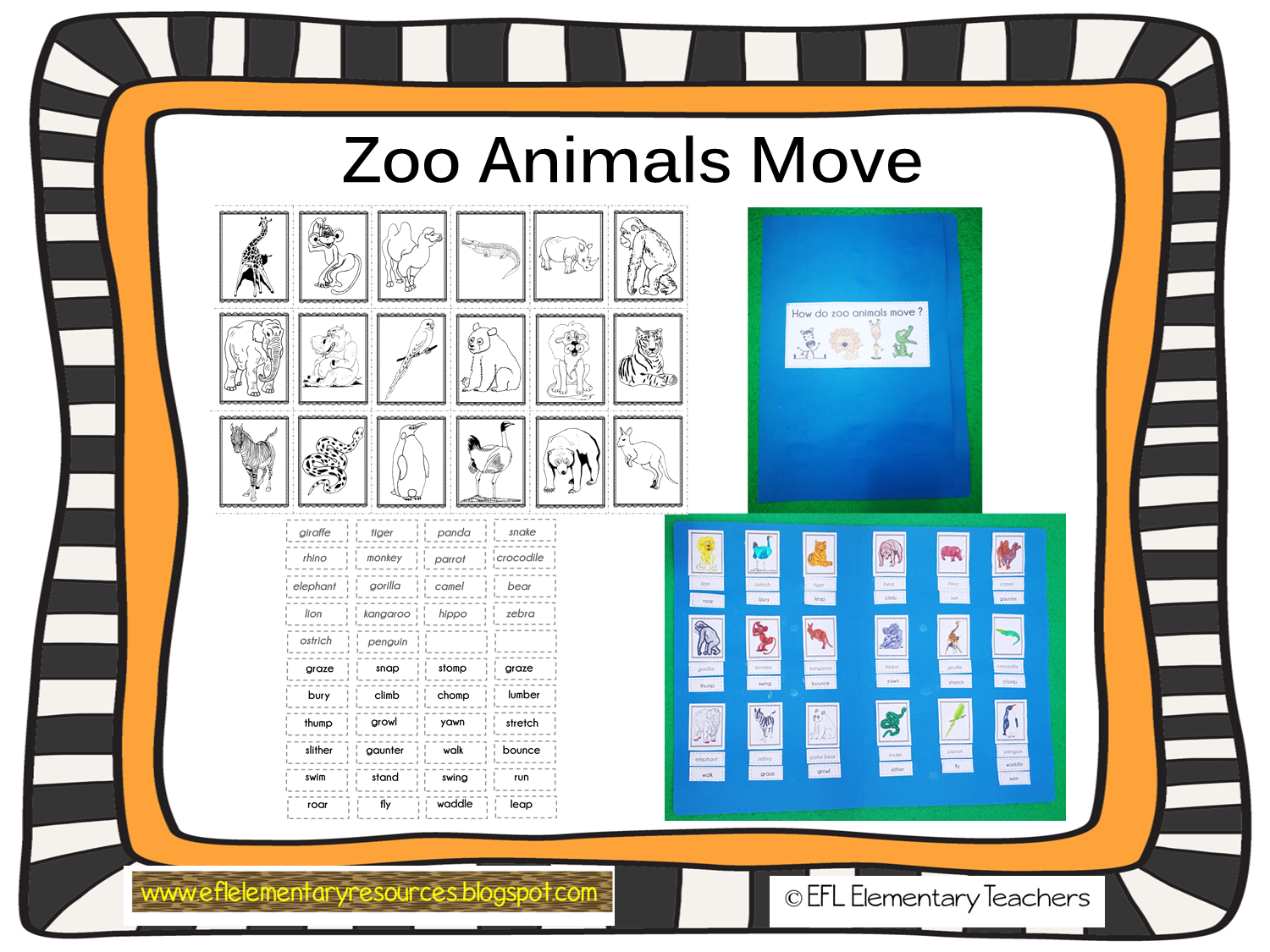 Efl Elementary Teachers Zoo Animal Move Resources For Elementary Esl