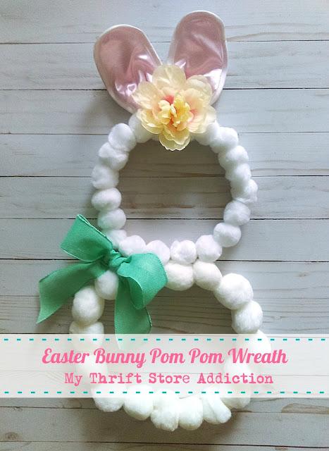 whimsical Easter bunny pom pom wreath