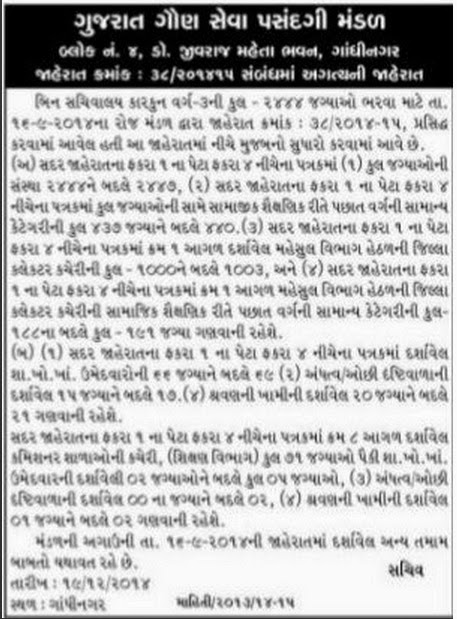 GSSSB Bin Sachivalay Clerk Exam Updates