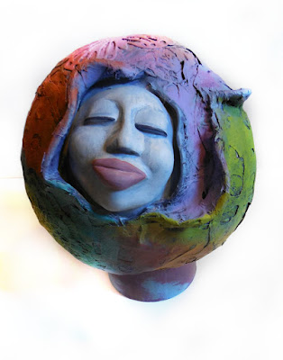 OOAK Gourd and Clay Sculpt Woman Face in Sphere