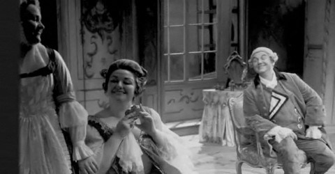 Montserrat Caballe (as the Marschallinn), Otto Edelmann (as Ochs) in Der Rosenkavalier at Glyndebourne in 1965