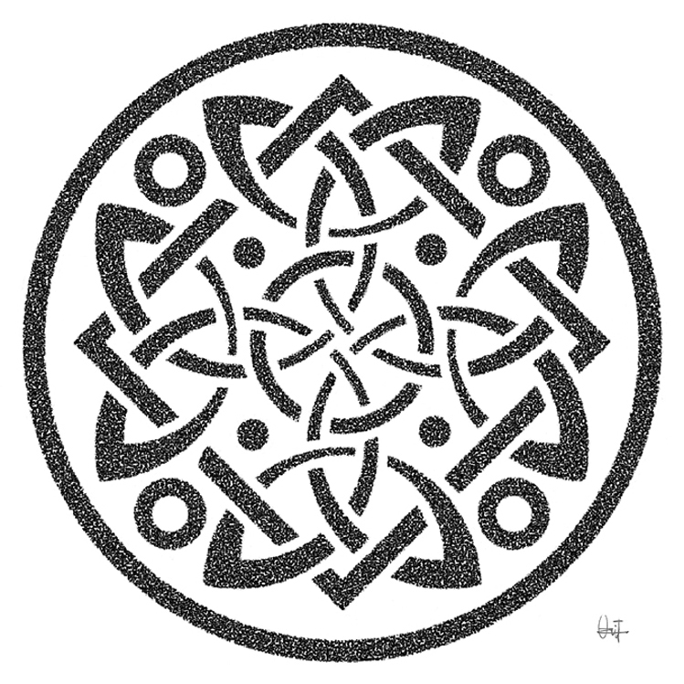 Arabesko: Dibujo de arabesco, nudo de cruz, estilo tatuaje celta ...