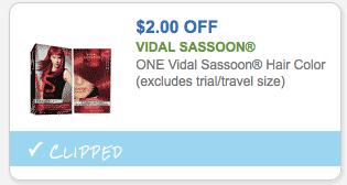 Rare Coupon: Save $2 on Vidal Sassoon Hair Color