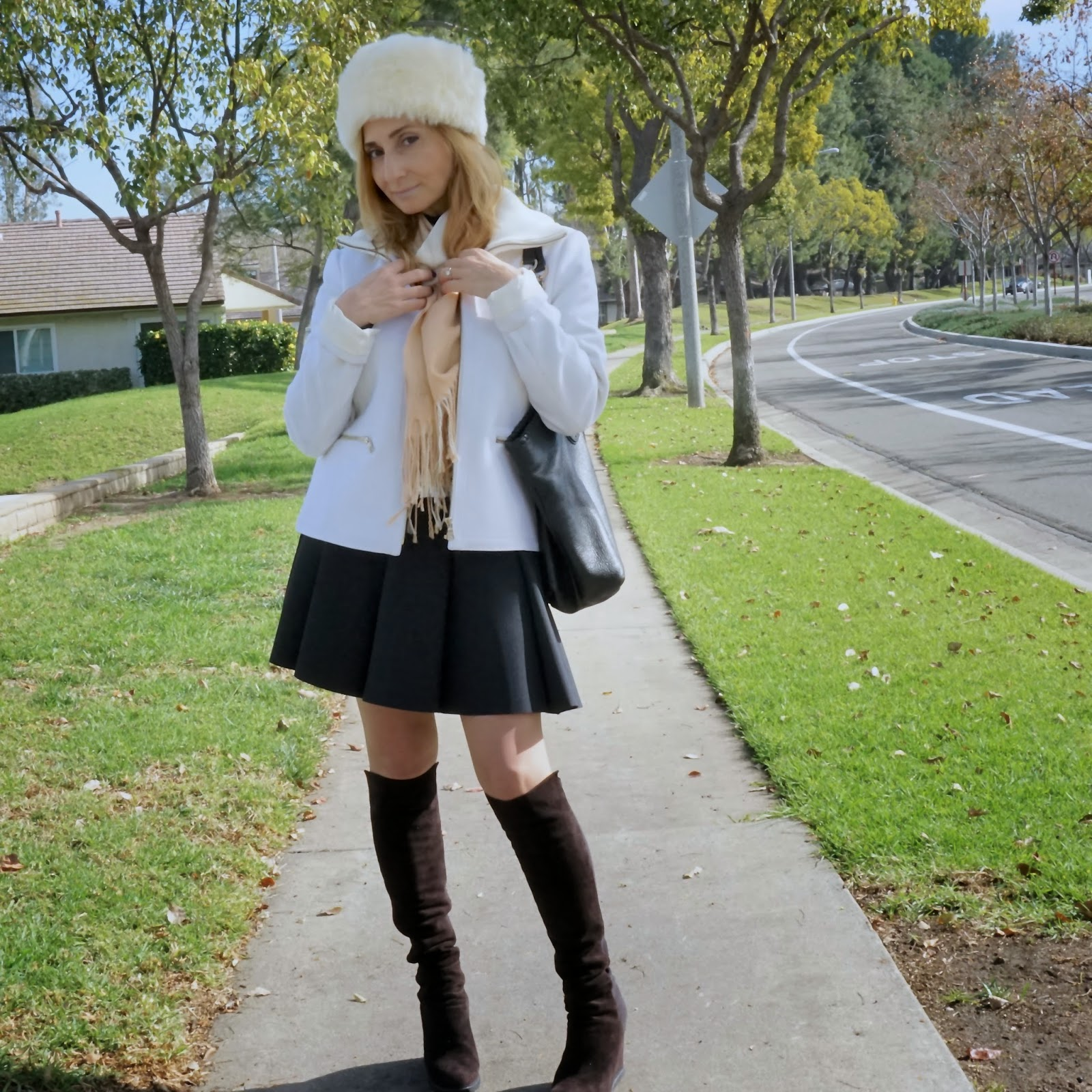 e4eab9e825f50 Feel Good Outfit: Jacket in Winter White, Faux Fur Hat, and Pleated Skirt