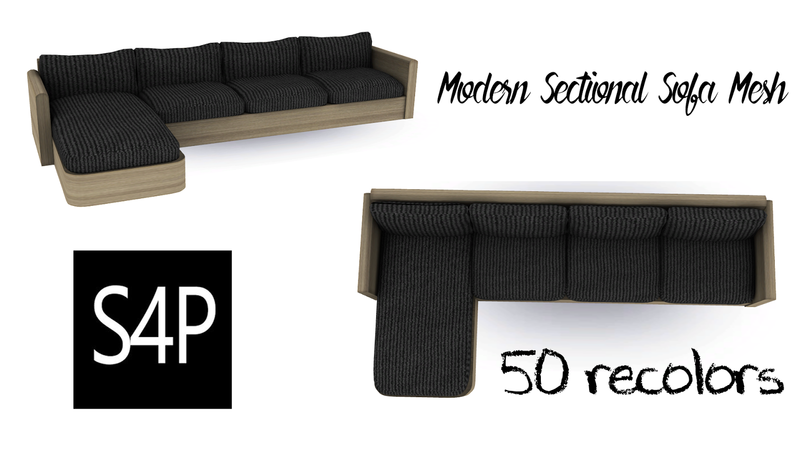 Download Sims 4 Pose Modern Sectional Sofa Mesh Seating
