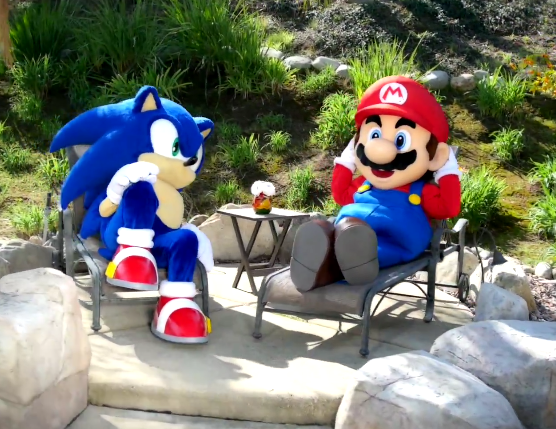 Mario & Sonic at the Rio 2016 Olympic Games costumes break Play Nintendo lawn chairs resting lazy