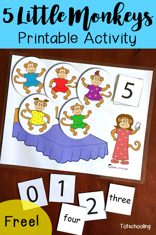 photograph about Give Me Five Poster Printable Free named 5 Very little Monkeys Leaping upon the Mattress Printable Recreation
