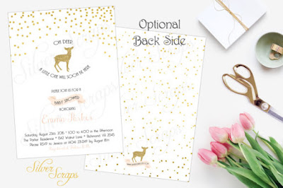 Gold Glitter Confetti and Deer Custom Baby Shower Invitation - Fawn Bambi Sprinkles Dots Blush Pink White Modern Girl Sparkle Digital DIY metallic matching back side polka dots silhouette chic soft blush light pink white