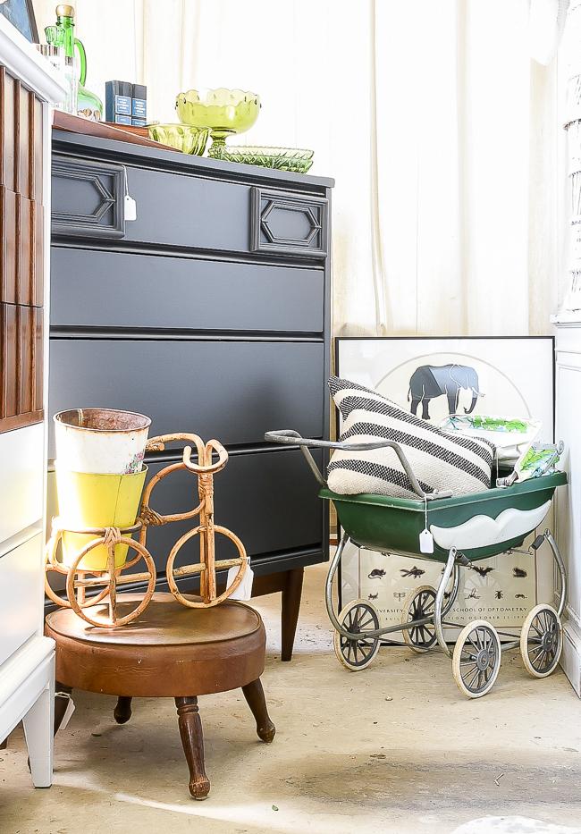 MCM dresser and vintage baby doll stroller