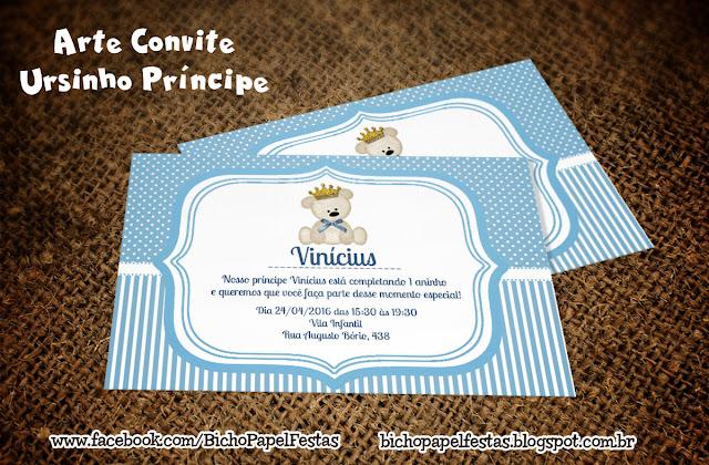 Convite Ursinho Príncipe azul claro e branco
