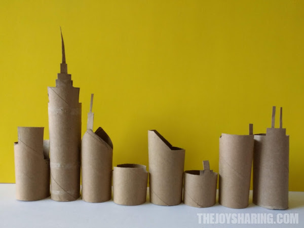 If you're looking for what to do with empty toilet paper rolls, try this simple skyline craft