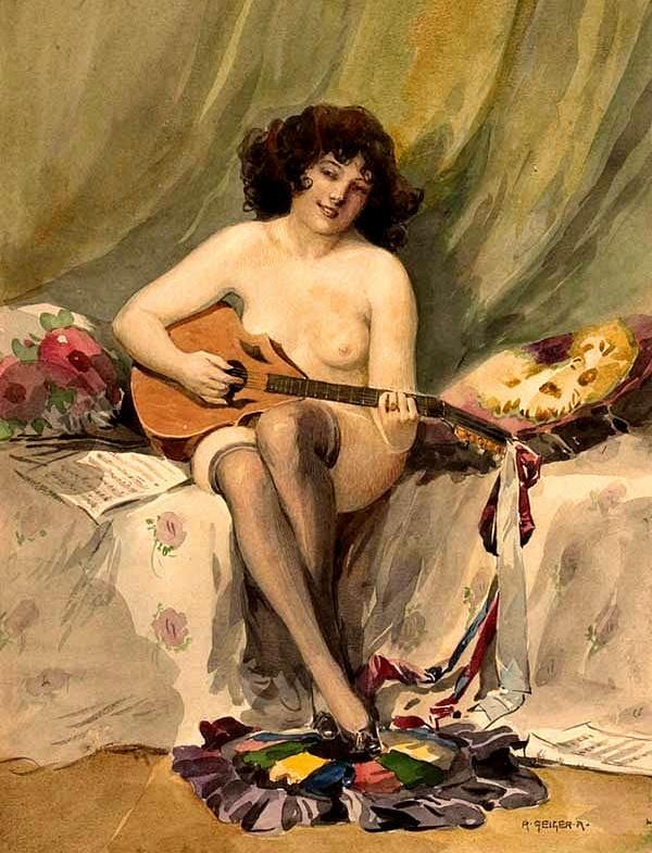 Vintage musician female nude 1
