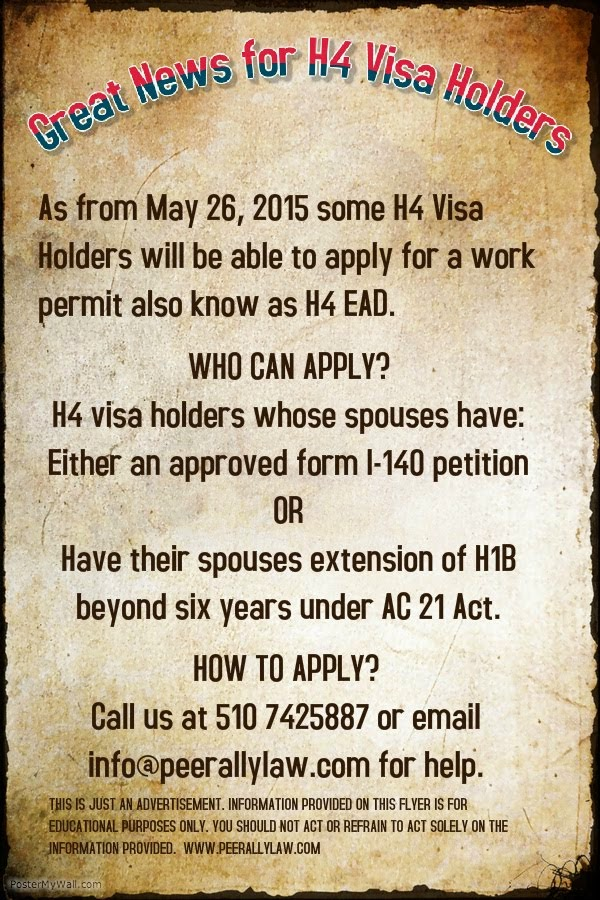 H4 Work Authorization, Work Permit or H4 EAD and H4 Visa Issues: 2015
