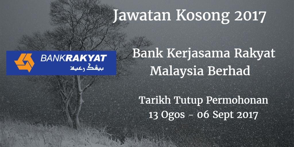 Jawatan Kosong Bank Rakyat 13 Ogos - 06 September 2017