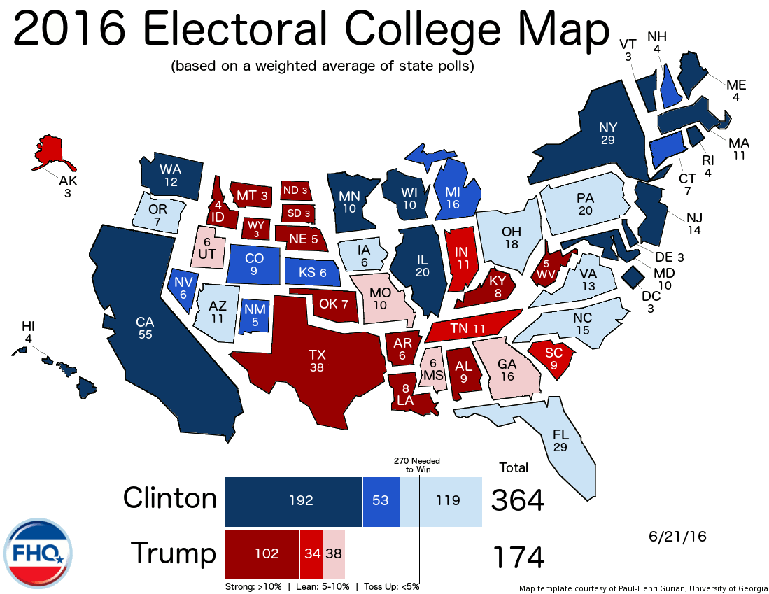 Frontloading Hq The Electoral College Map 6 21 16