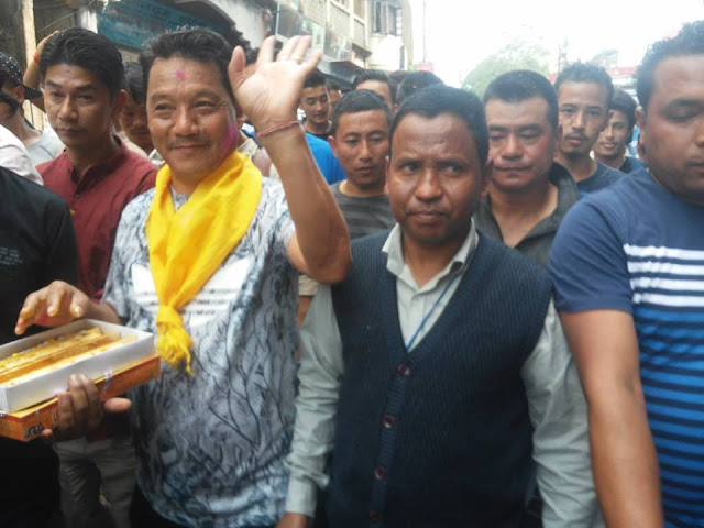 Bimal Gurung after  Gorkha Janmukti Morcha has won all the three seats from the three constituencies in the hills