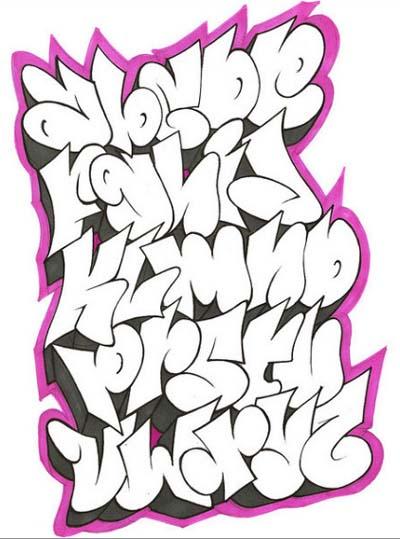 Graffiti Alphabet A To Z Shadow Pink