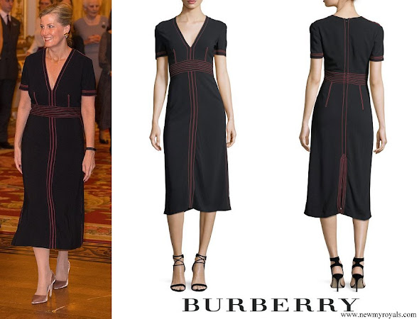 Countess Sophie wore Burberry Short Sleeve V-Neck Midi Dress