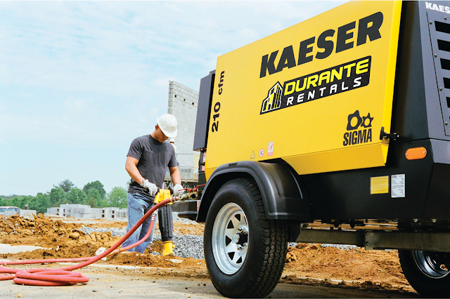 Man uses Kaeser Compressor to power rock drill