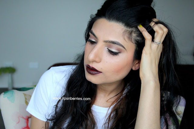 MAC Double fudge lipstick on warm medium NC 35 skin