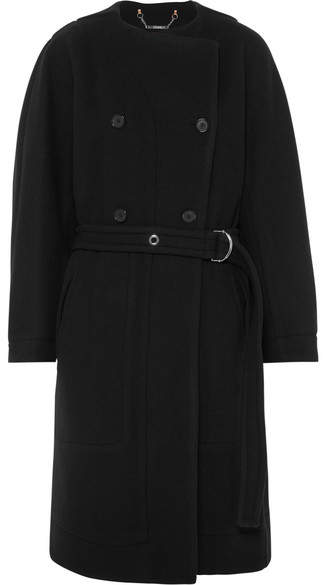 Chloé - Belted Double-breasted Wool-blend Felt Coat – Navy